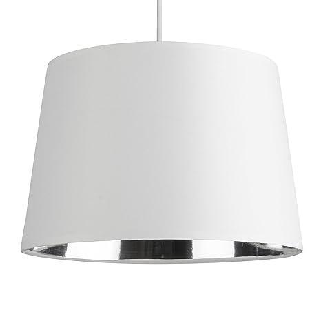 MiniSun – Moderna pantalla para lámpara de techo o de mesa cónica – con interior de acabado metálico plateado