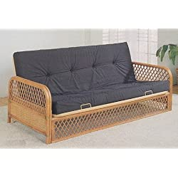 Futon Sofa Bed in Southwest Lattice Rattan Wood Wicker Accents with Metal Frame (Frame Only)