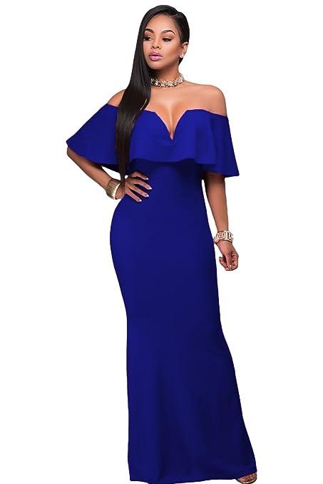 Vestido de noche con volantes de color azul real, para fiestas, bailes, bodas