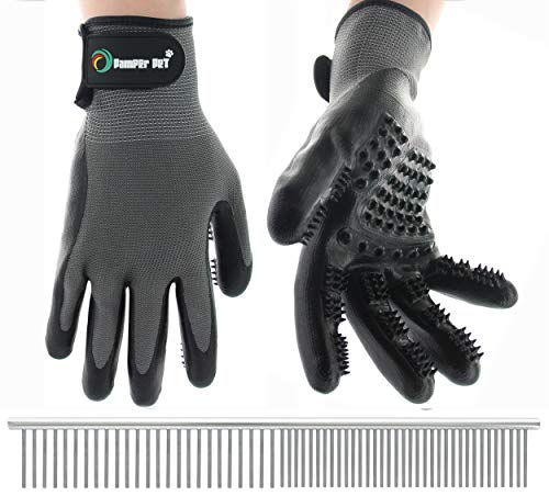 Pet Grooming Glove: Hair Remover, Deshedding Glove, Dog Brush, Cat & Horse Tool for Massage, Bath and Cleaning, Stainless Steel Comb for Long and Short Hair Undercoat, Pamper Pet Veteran Owned Brand