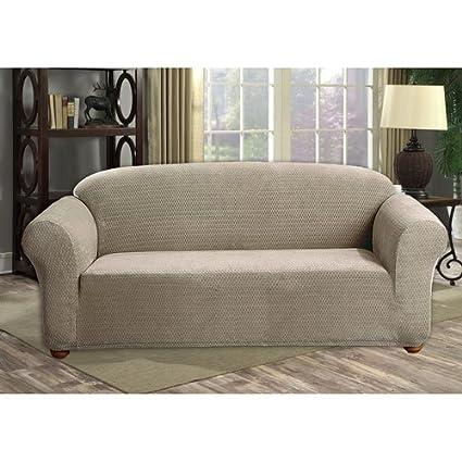 Ordinaire QuickFit Duck River Textiles HACT3u003d6 10219 Hayden Diamond Velvet Sofa Cover  Taupe