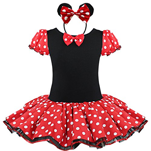 iEFiEL Baby Girls Kids Polka Dots Wonderland Costume Tutu Dress with Ear Headband (2T, Red&Black)