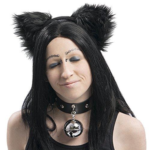 Pawstar Basic Black Kitty Cat Furry Ear Headband Adult Size Costume - Black ()