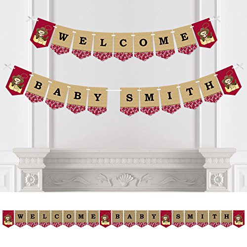 Big Dot of Happiness Custom Cowboy - Personalized Western Boy Baby Shower Bunting Banner & Decorations - Welcome Baby Custom Name Banner]()