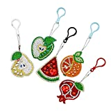 5PCS Key Fob Keychain Diamond Painting Key Chain Key Holder Ring Keyring Keyfob Cartoon Fruit Full Drill Diamond 5D DIY Needlework Craft Cross Stitch for Car Key Purse Phone Wallet Gift (Multicolor)