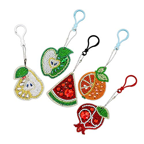 AMA.Li 5D DIY Diamond Painting Keychain Mosaic Making Full Drill Special Shape Diamond Painting Pendant for Art Craft Key Ring Phone Charm Bag Decors, 5 Pcs Fruits - Paint Finish Pendants