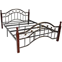 Home Source Hamilton Full Size Metal Bed with Floral Headboard Detail