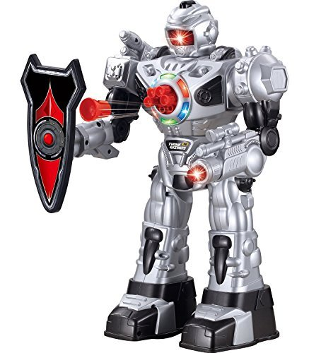 Think Gizmos Large Remote Control Robot for Kids – Superb Fun Toy RC Robot – Remote Control Toy Shoots Missiles, Walks, Talks & Dances (10 Functions) (Silver) ()