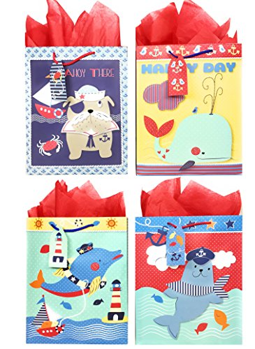 Nautical Gift Bags + Tissue Paper (4 Large Bags + Tissue Paper, Sailor Theme) ()