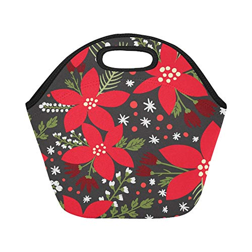 Insulated Neoprene Lunch Bag Poinsettia Hand-painted Flowers Large Size Reusable Thermal Thick Lunch Tote Bags For Lunch Boxes For Outdoors,work, Office, School