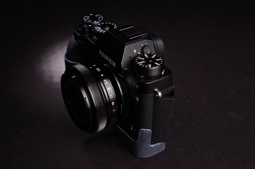 Deepblue BolinUS Handmade Genuine Real Leather Half Camera Case Bag Cover for Fujifilm X-T3 XT3 X-T2 XT2 Camera Bottom Opening Version X-T3 Camera Case Hand Strap