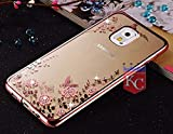 KC Shockproof Silicone Soft Transparent Auora Flower Case with Sparkle Crystals for Galaxy Note 3 Back Cover (Rose Gold + Pink)