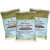 Yauvanya, Pure Indigo, polvere pura di foglie d'indaco per capelli, 3x 100g (etichetta in lingua italiana non garantita)
