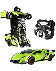 SainSmart Jr. Transform Car Robot, Electronic Remote Control RC Vehicles with One Button Tranforming and Realistic Engine Sound (Red)