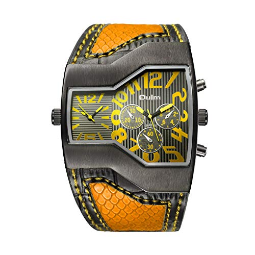 Unique style watch!Charberry Classic Casual Style Two Time Zone Men's Watches Leather Wristwatch Quartz Clock (Yellow)