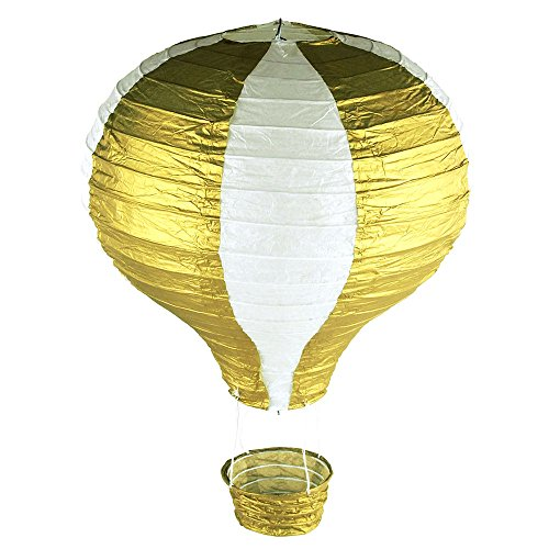 Homeford-Striped-Paper-Hot-Air-Balloon-Hanging-Decor-15-Inch-Gold