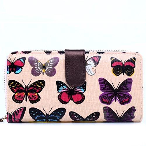 Papillon Light Imprimé à Purse Messenger main femmes Miss Lulu filles Sac Portefeuille épaule sacoche Bandoulière Pink RqwxUI6Txn