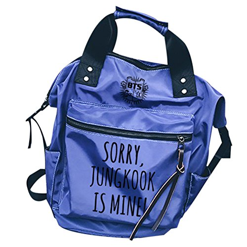 Jungkook Backpack Bags Casual Laptop blue Fashion Schoolbag Canvas Bangtan Boys BTS KPOP Daypack wxncIqU1P0