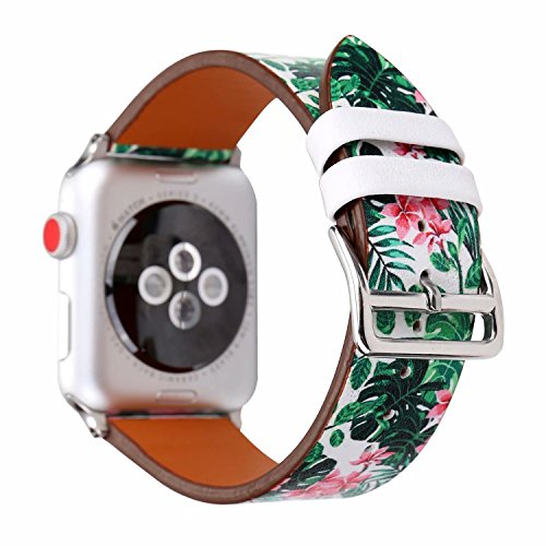 Pretty Floral Printed Leather Band Strap Colorful Wristband Dressy Replacement Bracelet Compatible with 42mm Apple Watch Series 3/2/1, Fresh Flowers