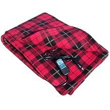 Trillium Worldwide 12-volt Heated Travel Blanket, 58-Inch x 42-Inch, Red Plaid