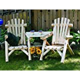 Lakeland Mills CFU329 Cedar Log Vista Tete Outdoor Chairs, Natural
