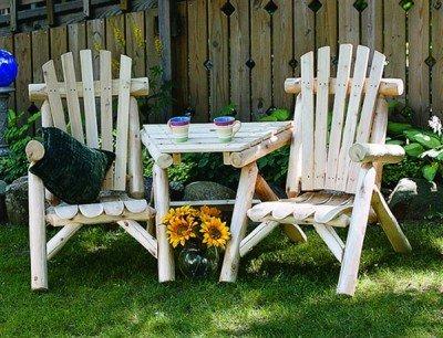 9 Cedar Log Vista Tete Outdoor Chairs, Natural (Rustic Lakeland Log)