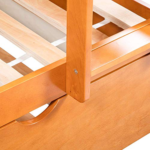 Hooseng Trundle and Storage Drawers Twin Bunk Ladder and Guardrails for Kids Solid Finish Wooden Bed, Oak 1