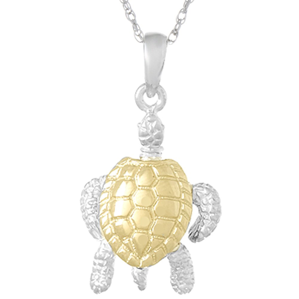Sterling Silver 3D Sea Turtle Pendant Necklace 18 Inch Chain