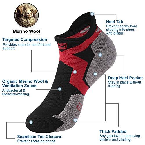 Wool Cycling Socks, ZEALWOOD Anti Blister No Show Running Socks Women and Men Golf Socks,Trail Walking Socks, Merino Wool Antibacterial Wicking Light Athletic Socks,3 Pairs,Black Red Grey by ZEALWOOD (Image #3)