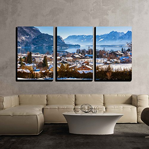 wall26 - 3 Piece Canvas Wall Art - Mountains Ski Resort St Gilgen Austria - Nature and Sport Background - Modern Home Decor Stretched and Framed Ready to Hang - (Ski Home Decor)