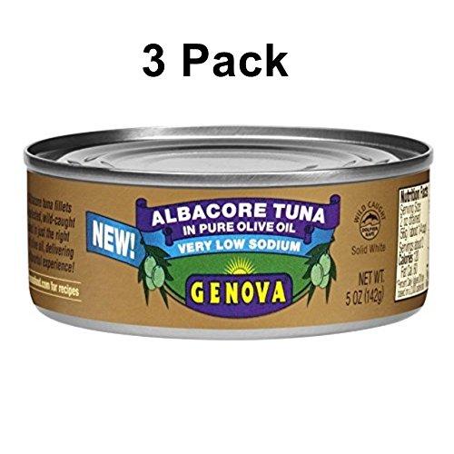 Genova Solid White Albacore in Olive Oil, Very Low Sodium, 5 Ounce (Pack of 3) (Genova Tuna)