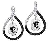 Seton Hall Pirates Sterling Silver Black Sapphire and White CZ Figure 8 Style Earrings