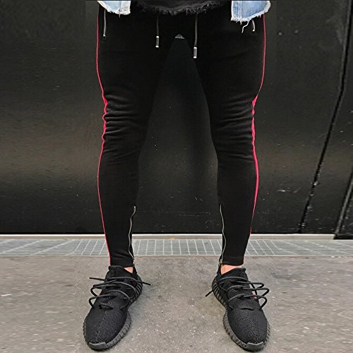 Pitauce Sports Pants for Men Casual Pants for Men Mens Hip Hop Premium Slim Fit Track Pants Casual Sweatpants Pockets Red by Pitauce (Image #3)