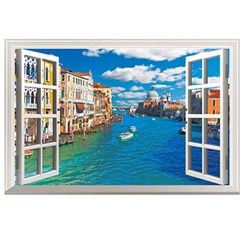 Fake Window Wall Decal Fatheads Stickers for Wall Faux Windows for Walls Cubicle Decorations Decor Tropical Wallpaper Ocean Town Murals for Walls Window Mural Wall Posters for Bedroom Wall ()