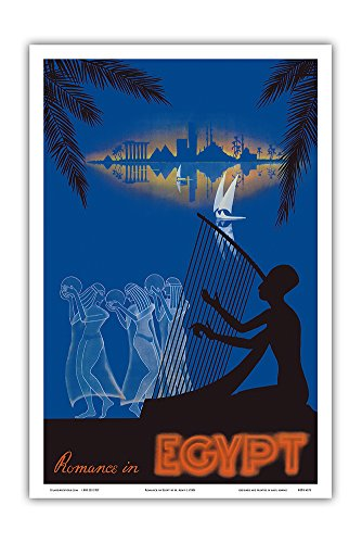 Romance in Egypt - Love on The Nile River - Ancient Egyptian Harp Player, Dancing Girls - Vintage World Travel Poster by M. Azmy c.1930s - Master Art Print - 12in x 18in (The Best Harp Player In The World)