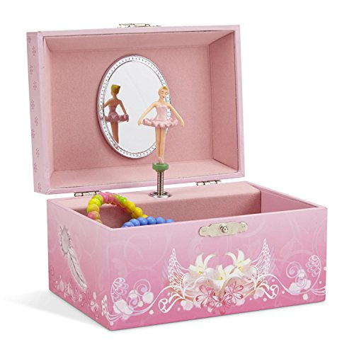 JewelKeeper Girl's Musical Jewelry Storage Box with Spinning Ballerina, Pink Design, Swan Lake Tune -