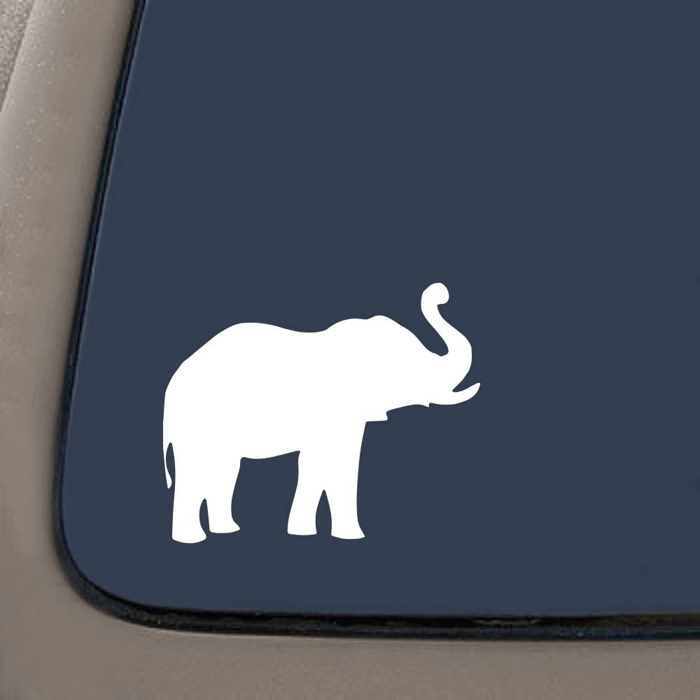 5.5-Inches Premium Quality White Vinyl Decal Sticker CMI NI503 Elephant Decal Sticker