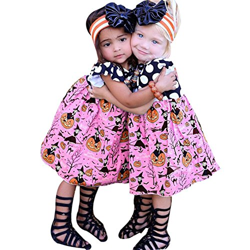 Cute Halloween Dresses For Kids (Funnycokid Toddler Kid Cute Clothes Baby Girls Halloween Pumpkin Cartoon Princess Dress 3 T)