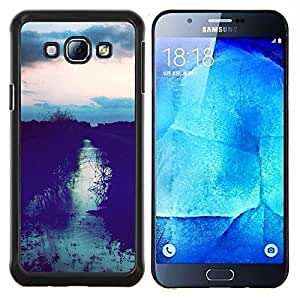 LECELL--Funda protectora / Cubierta / Piel For Samsung Galaxy A8 A8000 -- Sunset Campo Después Sky Night View --