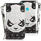 WIWJ Compatible with Huawei P Smart Huawei Honor 10 Lite Case,3D Embossed Lanyard Flip PU Leather Case with Card Holder for Girls Kickstand Ultra Slim Fit Protective Shockproof Case Cover-Angry Bear