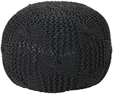 Christopher Knight Home Ansel Knitted Cotton Pouf, Dark Grey