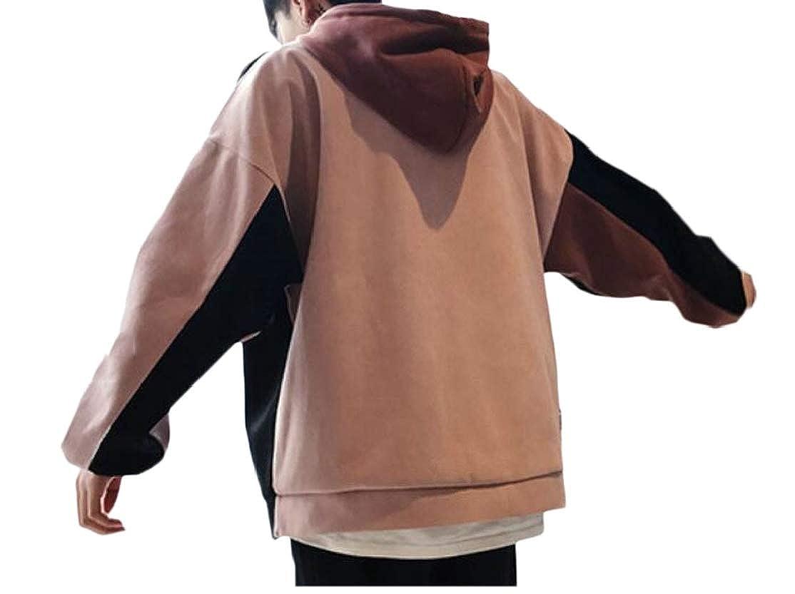 Cromoncent Men Contrast Color Irregular Drawstring Fashion Drop Shoulder Sleeve Hooded Sweatshirts