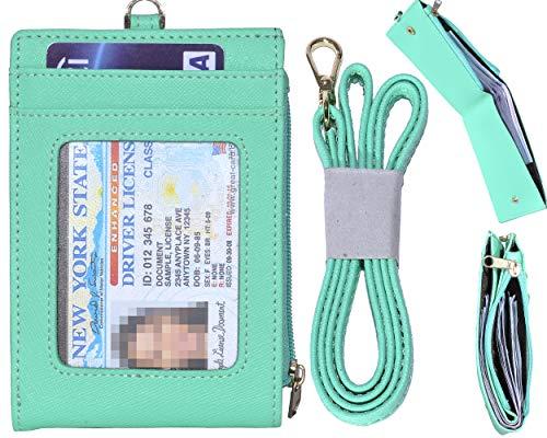 Beurlike Bifold ID Badge Holder Case Leather Credit Card Wallet Neck Lanyard (Mint Green) ()