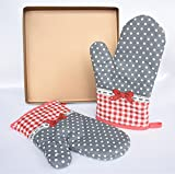 Golden Bakeware Alloy Nonstick Baking Pan 11'' 11'' + Bowknot Oven Gloves