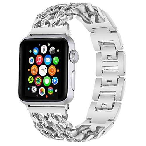 For Apple Watch Band, VOMA Stainless Steel iWatch Band Replacement Strap for Apple Watch Series 3 Series 2 Series 1 Nike+ Sport Edition - Style Chain with bling Silver (Series Stainless Steel Folding)