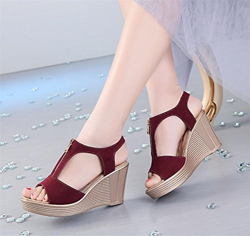 Womens Leather Gladiator Platform High Heel Wedges Zipper Casual Sandals Plus Size Dark Red cEA2p8mr