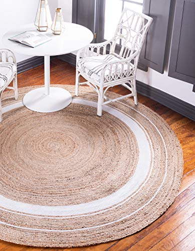 Unique Loom Braided Jute Collection Hand Woven Casual with Navy Border Coastal Natural Round Rug (3' 3 x 3' 3)