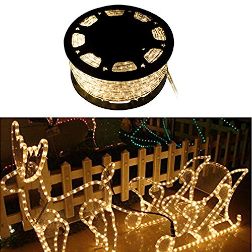 WALCUT 110V 150FT Flexible Crystal Clear PVC Tubing LED Rope Light Indoor/Outdoor Boat Decorative Party Christmas Holiday Business Restaurant Light Kit (Warm White) by WALCUT