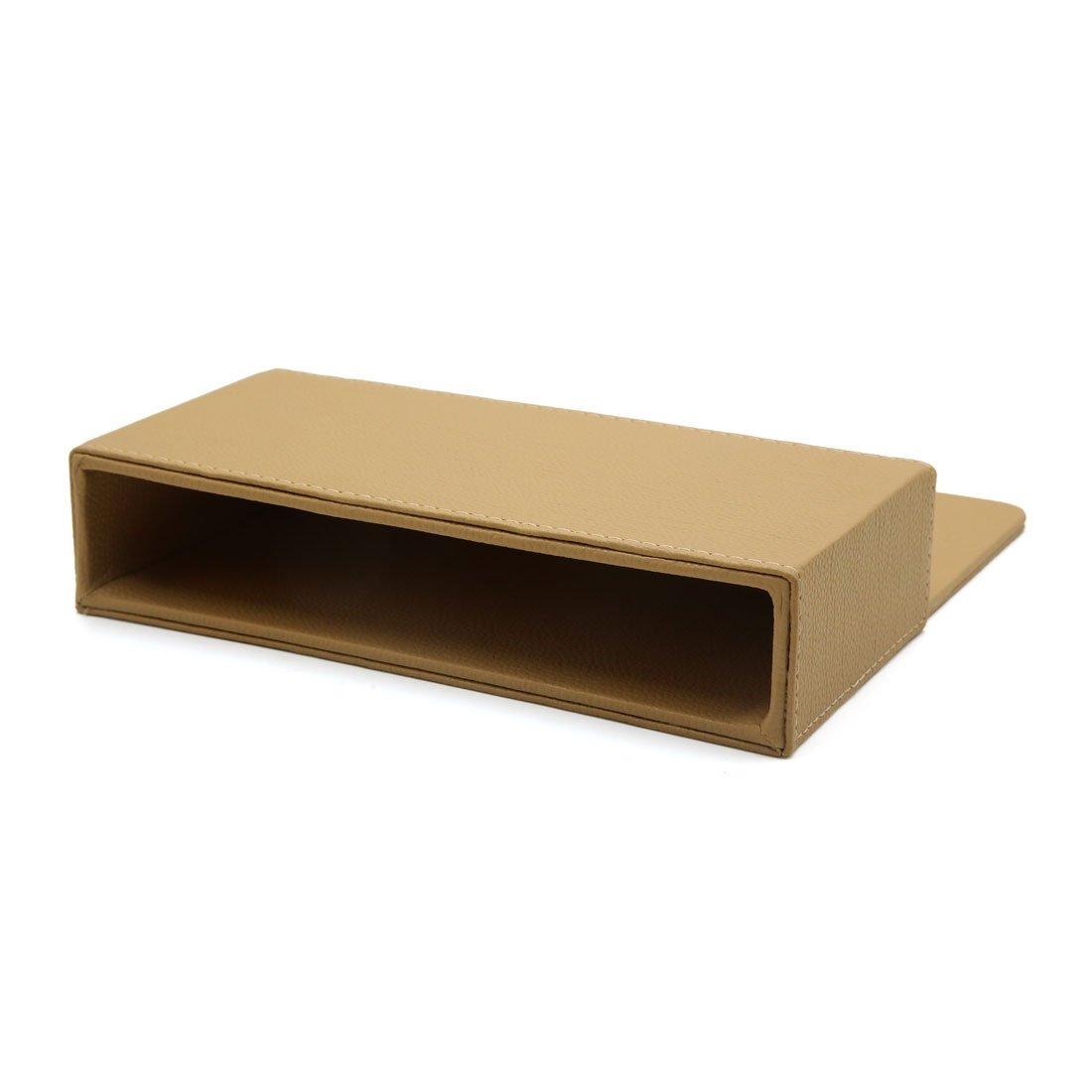 sourcingmap/® Faux cuir Beige Si/ège rectangle vide fente portable Poche rangement pour voiture Accueil