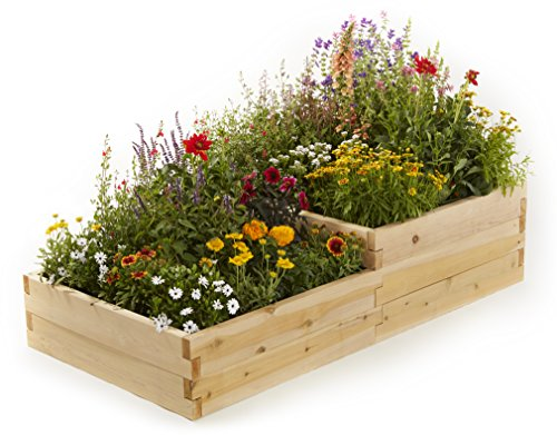 Naturalyards Raised Garden Bed, Multi-Level (Rustic Cedar, 2'x4'x16.5'') by Naturalyards